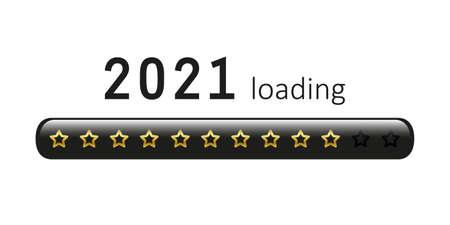 2021 loading golden bar with stars vector illustration EPS10