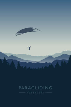 paragliding adventure on blue mountain background vector illustration