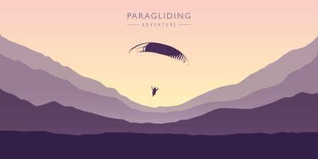 paragliding adventure on purple mountain background vector illustration