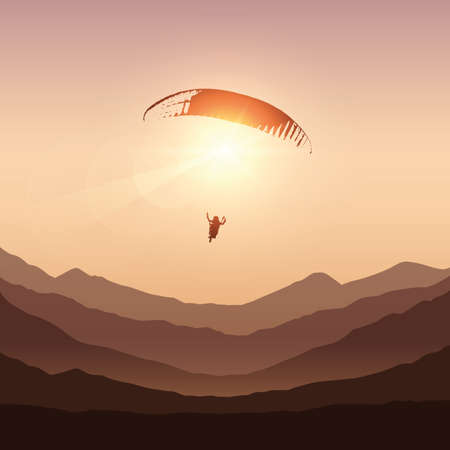 paraglider in sunny sky by sunset in the mountains vector illustration EPS10