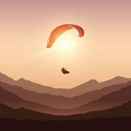 paraglider in sunny sky by sunset in the mountains vector illustration EPS10 Ilustrace