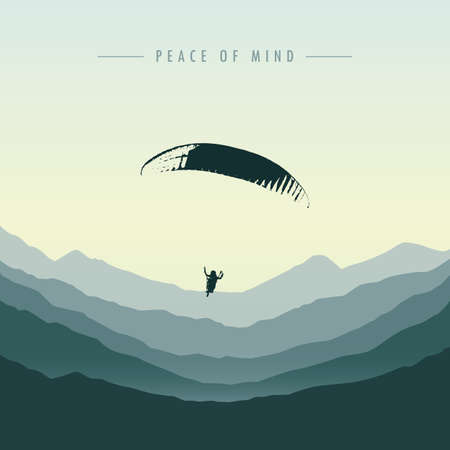 peace of mind paraglider in green mountain vector illustration EPS10 Ilustrace