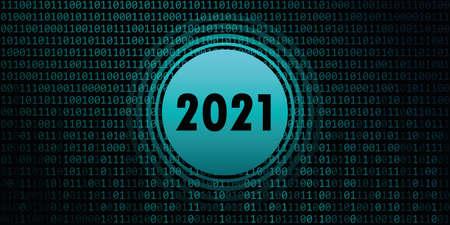 2021 new year on binary code background vector illustration EPS10 Ilustracja