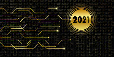 2021 new year on binary code background vector illustration Ilustrace