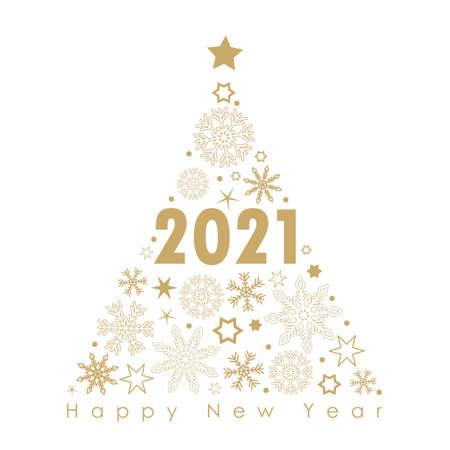 2021 golden christmas tree with snowflakes and stars on a black background vector illustration EPS10 Ilustrace