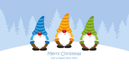 cute christmas greeting card with gnome on snowy forest landscape vector illustration EPS10