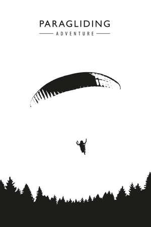 paragliding adventure on forest background vector illustration