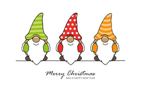 christmas greeting card with cute christmas dwarf vector illustration EPS10