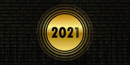 2021 new year on binary code background online concept