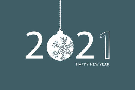 happy new year 2021 typography with hanging christmas ball vector illustration EPS10