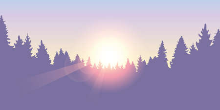 purple forest pine tree background at sunset vector illustration EPS10