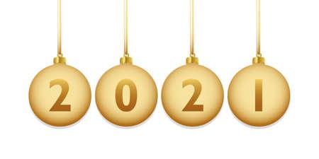 golden colored christmas balls 2021 vector illustration EPS10