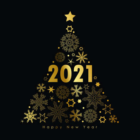 2021 golden christmas tree with snowflakes and stars on a black background