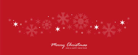 snowflakes and stars border red christmas card 일러스트