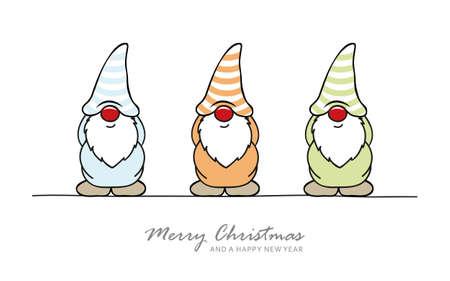 christmas greeting card with cute christmas dwarf 일러스트