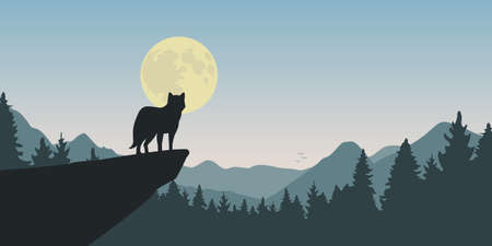 wolf howls at full moon nature landscape