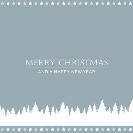 bright christmas greeting card with forest