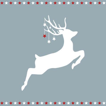 jumping christmas deer with stars 일러스트