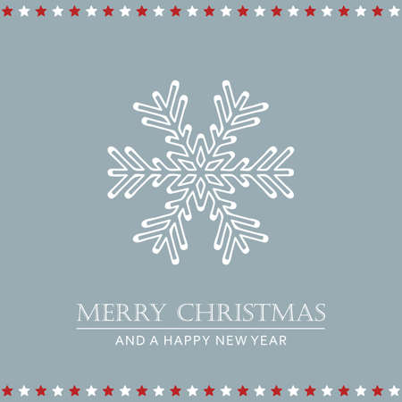 christmas greeting card with snowflake and stars vector illustration EPS10