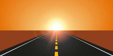 straight asphalt road in autumn at sunrise mountain landscape vector illustration EPS10