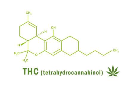 thc tetrahydrocannabinol chemical formula with cannabis leaf vector illustration EPS10 일러스트