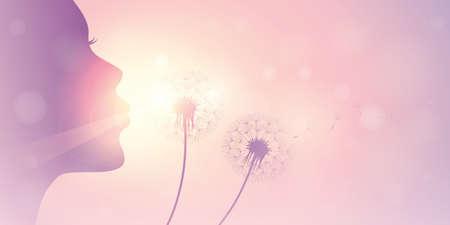 girl blows dandelion silhouette on sunny sky vector illustration EPS10