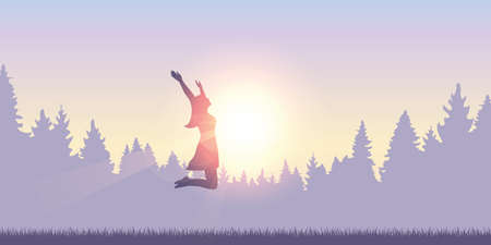 happy girl with raised arms jumps at sunshine vector illustration EPS10