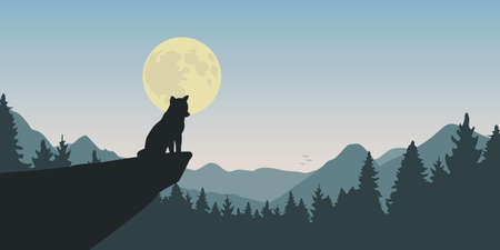 wolf howls at full moon nature landscape vector illustration 일러스트