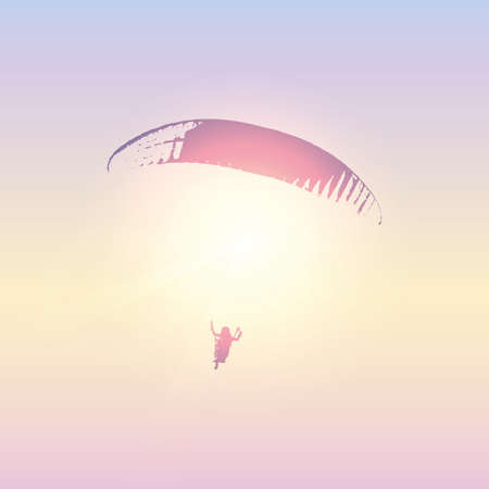 paraglider silhouette in sunny sky vector illustration EPS10