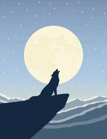 wolf howls at the full moon on snowy mountain landscape vector illustration EPS10
