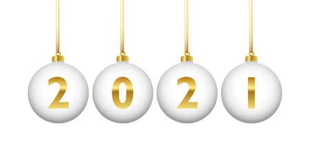 golden colored christmas balls 2021 vector illustration 일러스트