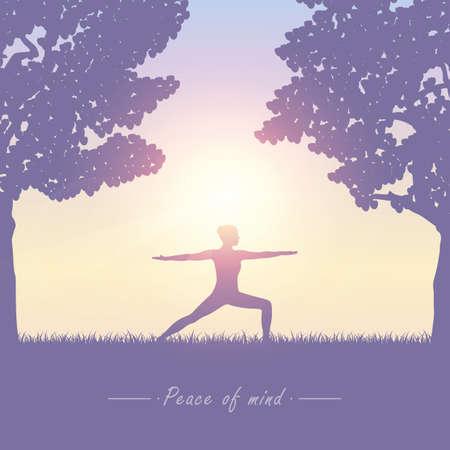 yoga girl on summer meadow at sunshine vector illustration