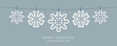 grey christmas card with hanging snowflakes vector illustration EPS10