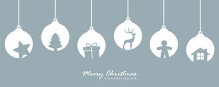 christmas card with snowflake tree balls decoration vector illustration EPS10