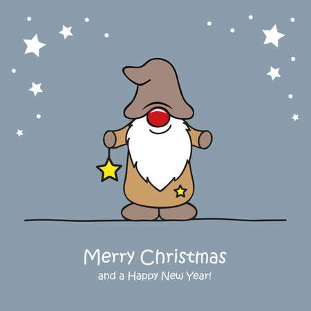 cute christmas dwarf with star christmas cartoon vector illustration EPS10 일러스트