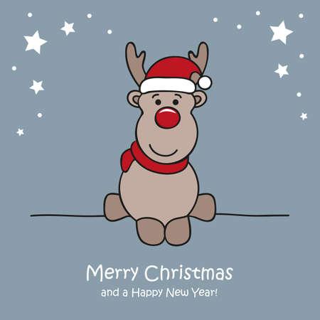 cute white deer christmas cartoon vector illustration EPS10