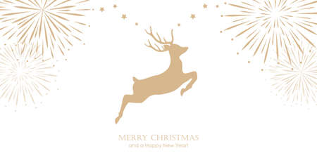 bright christmas greeting card with jumping deer and firework border vector illustration EPS10 Illustration