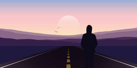 girl stand on the asphalt road and looks to the mountains vector illustration EPS10