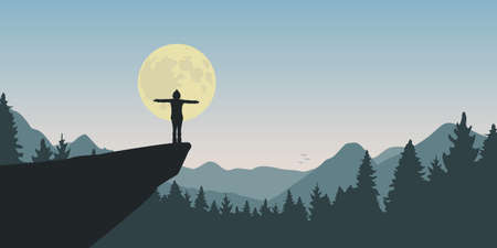 lonely girl on a cliff looks to the full moon at nature landscape vector illustration EPS10 일러스트
