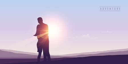 couple in love silhouette at sunny summer sky background vector illustration EPS10