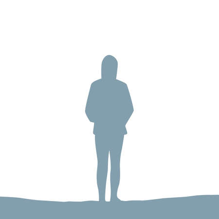 lonely girl silhouette isolated on white vector illustration EPS10 일러스트