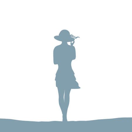summer girl with hat silhouette isolated vector illustration EPS10 일러스트