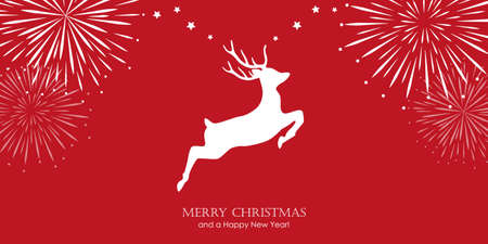 bright christmas greeting card with jumping deer and firework border vector illustration EPS10 일러스트