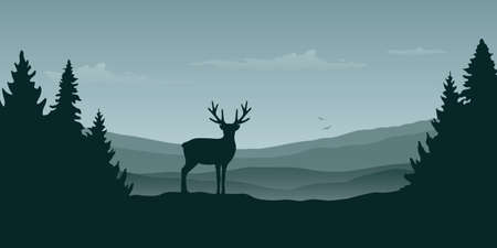wildlife reindeer mountain view in the fog and forest landscape vector illustration