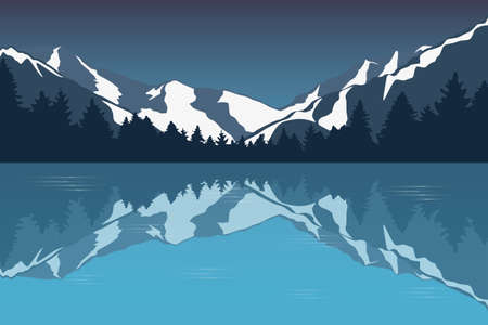 blue snowy mountain landscape by the lake winter background vector illustration EPS10