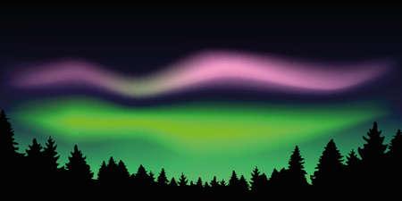 aurora borealis beautiful polar lights in forest vector illustration Çizim
