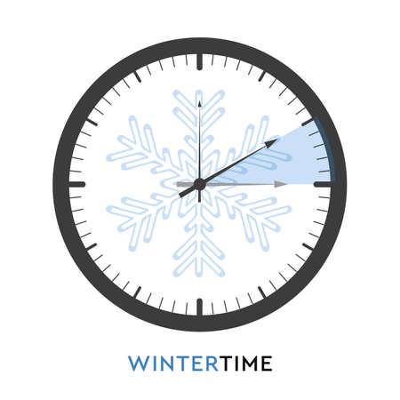 clock switch to winter time vector illustration