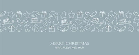 christmas card with winter decoration border vector illustration EPS10