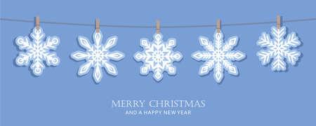 blue christmas card with hanging snowflakes vector illustration Ilustração
