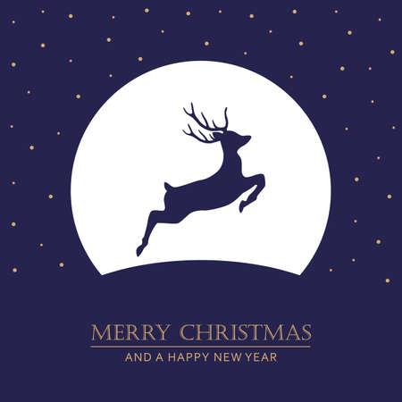 christmas card with deer at full moon night vector illustration EPS10 Ilustração